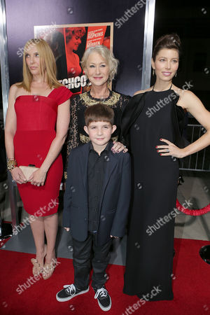 BEVERLY HILLS, CA - NOVEMBER 20: Toni Collette, Helen Mirren, Jessica Biel and Felix Mirren at Fox Searchlight Pictures' 'Hitchcock' Los Angeles Premiere held at AMPAS Samuel Goldwyn Theater on November 20, 2012 in Beverly Hills, California. Toni Collette Helen Mirren Jessica Biel Felix Mirren