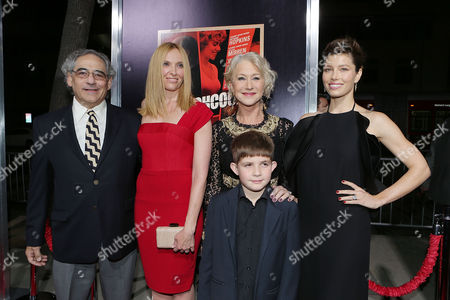 Stock Picture of BEVERLY HILLS, CA - NOVEMBER 20: Fox Searchlight President Steve Gilula, Toni Collette, Helen Mirren, Jessica Biel and Felix Mirren at Fox Searchlight Pictures' 'Hitchcock' Los Angeles Premiere held at AMPAS Samuel Goldwyn Theater on November 20, 2012 in Beverly Hills, California. Steve Gilula Toni Collette Helen Mirren Jessica Biel Felix Mirren