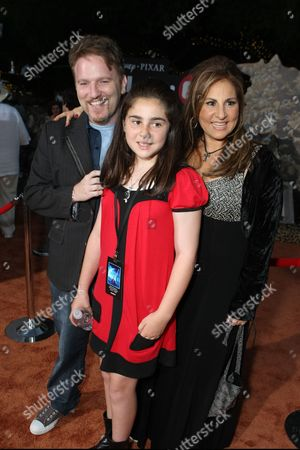 Stock Image of LOS ANGELES, CA - JUNE 21: Dan Finnerty, Samia Najimy Finnerty and Kathy Najimy at the World Premiere of Disney-Pixar's 'WALL-E' on June 21, 2008 at the Greek Theatre in Los Angeles, CA.