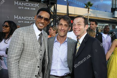 HOLLYWOOD, CA - JUNE 30: Will Smith, Sony's Michael Lynton and CAA's Richard Lovett at the Premiere of Columbia Pictures' 'Hancock' on June 30, 2008 at the Grauman's Chinese Theatre in Hollywood, CA.