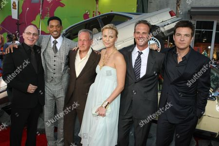 HOLLYWOOD, CA - JUNE 30: Producer Akiva Goldsman, Will Smith, Producer Michael Mann, Charlize Theron, Director Jeff Berg and Jason Bateman at the Premiere of Columbia Pictures' 'Hancock' on June 30, 2008 at the Grauman's Chinese Theatre in Hollywood, CA.