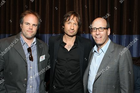 BEVERLY HILLS, CA - JULY 18: Exec. Producer Tom Kapinos, David Duchovny and Showtime's Matt Blank at Showtime's Television Critics Association Press Tour held at the Beverly Hilton hotel on July 18, 2008 in Beverly Hills, California.