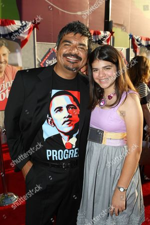HOLLYWOOD, CA - JULY 24: George Lopez and Mayan Lopez at the World Premiere of Touchstone Pictures' 'Swing Vote' on July 24, 2008 at the El Capitan Theatre in Hollywood, CA.
