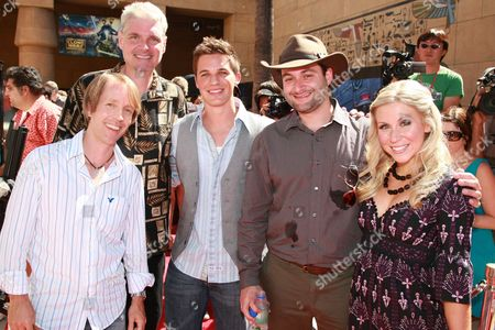 HOLLYWOOD, CA - AUGUST 10: James Arnold Taylor, Tom Kane, Matt Lanter, Director Dave Filoni and Ashley Eckstein at US Premiere of Warner Bros. 'Star Wars: The Clone Wars' on August 10, 2008 at the Egyptian Theatre in Hollywod, CA.