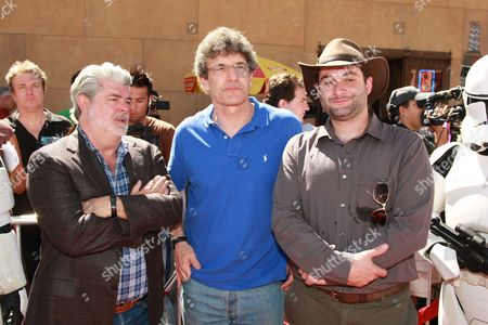 HOLLYWOOD, CA - AUGUST 10: Creator/Exec. Producer George Lucas, Warner's Alan Horn and Director Dave Filoni at US Premiere of Warner Bros. 'Star Wars: The Clone Wars' on August 10, 2008 at the Egyptian Theatre in Hollywod, CA.