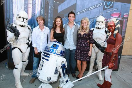 HOLLYWOOD, CA - AUGUST 10: James Arnold Taylor, Catherine Taber, Matt Lanter and Ashley Eckstein at US Premiere of Warner Bros. 'Star Wars: The Clone Wars' on August 10, 2008 at the Egyptian Theatre in Hollywod, CA.