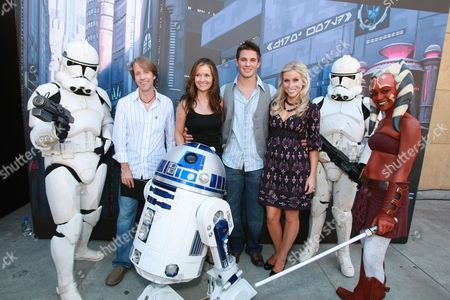 Stock Photo of HOLLYWOOD, CA - AUGUST 10: James Arnold Taylor, Catherine Taber, Matt Lanter and Ashley Eckstein at US Premiere of Warner Bros. 'Star Wars: The Clone Wars' on August 10, 2008 at the Egyptian Theatre in Hollywod, CA.