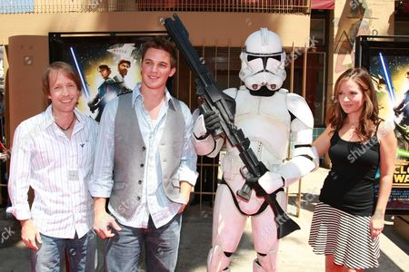 HOLLYWOOD, CA - AUGUST 10: James Arnold Taylor, Matt Lanter and Catherine Taber at US Premiere of Warner Bros. 'Star Wars: The Clone Wars' on August 10, 2008 at the Egyptian Theatre in Hollywod, CA.