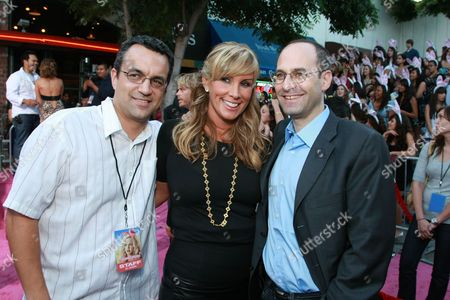 WESTWOOD, CA - AUGUST 20: Producer Jack Giarraputo, Producer Heather Parry and Sony's Doug Belgrad at Columbia Pictures Premiere of 'The House Bunny' on August 20, 2008 at the Mann Village Theatre in Westwood, CA.