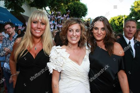 Stock Photo of WESTWOOD, CA - AUGUST 20: Exec. Producer/Writer Kirsten Smith, Exec. Producer/Writer Karen McCullah Lutz and Dana Goodman at Columbia Pictures Premiere of 'The House Bunny' on August 20, 2008 at the Mann Village Theatre in Westwood, CA.