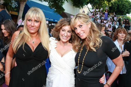 Stock Picture of WESTWOOD, CA - AUGUST 20: Exec. Producer/Writer Kirsten Smith, Exec. Producer/Writer Karen McCullah Lutz and Producer Heather Parry at Columbia Pictures Premiere of 'The House Bunny' on August 20, 2008 at the Mann Village Theatre in Westwood, CA.