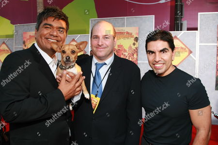LOS ANGELES, CA - SEPTEMBER 18: George Lopez, Papi, Producer John Jacobs and Eddie 'Piolin' Sotelo at the World Premiere of Walt Disney Pictures' 'Beverly Hills Chihuahua' on September 18, 2008 at the El Capitan Theatre in Los Angeles, CA.