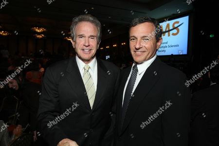 LOS ANGELES, CA - SEPTEMBER 25: Warren Beatty and Disney's Robert Iger at the 34th Annual Dinner of Champions honoring Walt Disney Studio's Oren Aviv on September 25, 2008 at the Hyatt Regency Century Plaza Hotel in Los Angeles, Spain.