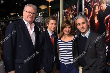 LOS ANGELES, CA - OCTOBER 02: Sony's Sir Howard Stringer, Michael Cera, Sony's Amy Pascal and Sony's Matt Tolmach at Columbia Pictures 'Nick & Norah's Infinite Playlist' Premiere on October 02, 2008 at Archlight Hollywood in Los Angeles, CA.