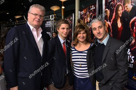 Stock Image of LOS ANGELES, CA - OCTOBER 02: Sony's Sir Howard Stringer, Michael Cera, Sony's Amy Pascal and Sony's Matt Tolmach at Columbia Pictures 'Nick & Norah's Infinite Playlist' Premiere on October 02, 2008 at Archlight Hollywood in Los Angeles, CA.
