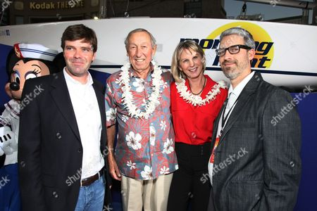 HOLLYWOOD, CA - OCTOBER 07: Producer Morgan Sackett, Exec. Producer Roy E. Disney, Exec. Producer Leslie DeMeuse and Director/Co-Writer Mark Monroe at The World Premiere of Walt Disney Pictures' 'Morning Light' on October 07, 2008 at the El Capitan Theatre in Hollywood, CA.