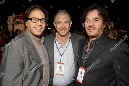 WESTWOOD, CA - DECEMBER 11: Fox' Jeffrey Godsick, Regency's Hutch Parker and Fox' Tony Sella at 20th Century Fox Premiere of 'Marley & Me' on December 11, 2008 at Mann's Village Theatre in Westwood, California.