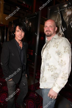 Stock Image of LOS ANGELES, CA - JANUARY 08: Screewriter Zane Smith and Screewriter Todd Farmer at the Los Angeles Special Screening of Lionsgate's 'My Bloody Valentine 3D' on January 08, 2008 at the Mann's Chinese Six in Los Angeles, California.
