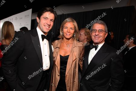 BEVERLY HILLS - JANUARY 11: **EXCLUSIVE** Cartier's Frederic De Narp, Kelley Meyer and Universal's Ron Meyer at The NBC/Universal Pictures/Focus Features Golden Globes Party on January 11, 2009 at the Beverly Hilton Hotel in Beverly Hills, CA.
