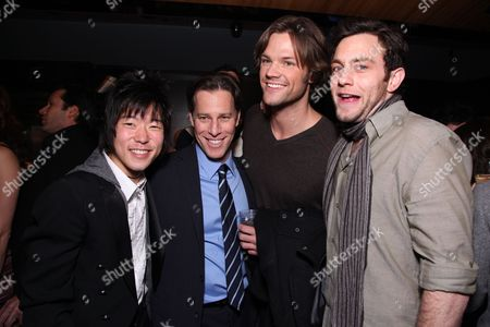 HOLLYWOOD, CA: Aaron Yoo, Producer Brad Fuller, Jared Padalecki and Jonathan Sadowski at New Line Cinema and Paramount Pictures Los Angeles Premiere of 'Friday The 13th' on February 09, 2009 at the Grauman's Chinese Theatre in Hollywood, California.