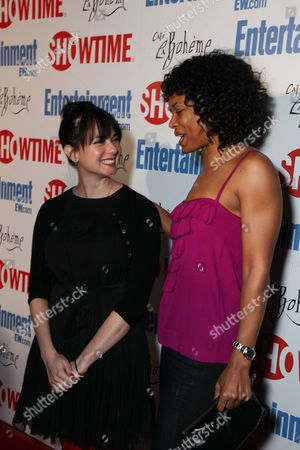 WEST HOLLYWOOD, CA - MARCH 03: Mia Kirshner and Rose Rollins at Showtime's 'L Word' Farewell party on March 03, 2009 at Cafe La Boheme in West Hollywood, California.