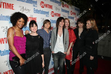Stock Image of WEST HOLLYWOOD, CA - MARCH 03: Rose Rollins, Mia Kirshner, Daniela Sea, Katherine Moennig, Laurel Holloman, Creator Ilene Chaiken and Marlee Matlin at Showtime's 'L Word' Farewell party on March 03, 2009 at Cafe La Boheme in West Hollywood, California.