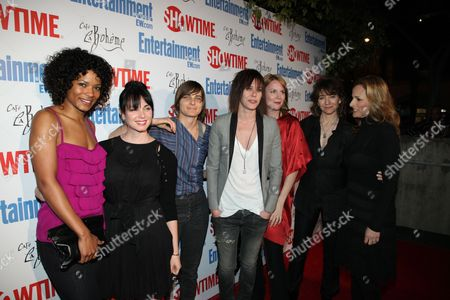 WEST HOLLYWOOD, CA - MARCH 03: Rose Rollins, Mia Kirshner, Daniela Sea, Katherine Moennig, Laurel Holloman, Creator Ilene Chaiken and Marlee Matlin at Showtime's 'L Word' Farewell party on March 03, 2009 at Cafe La Boheme in West Hollywood, California.