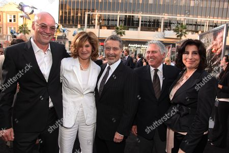 HOLLYWOOD, CA - MAY 14: Producer Moritz Borman, Sony's Amy Pascal, Warner's Barry Meyer, Warner's Dan Fellman and Warner's Sue Kroll at Warner Bros. Pictures U.S. Premiere of 'Terminator Salvation' on May 14, 2009 at Grauman's Chinese Theatre in Hollywood, California.