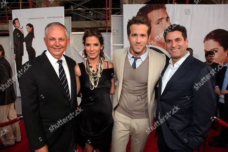 HOLLYWOOD, CA - JUNE 01: Disney's Dick Cook, Sandra Bullock, Ryan Reynolds and Disney's Oren Aviv at the World Premiere of Touchstone Pictures' 'The Proposal' on June 01, 2009 at the El Capitan Theatre in Hollywood, California.