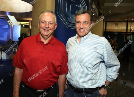 HOLLYWOOD, CA - JULY 19: Disney's Dick Cook and Disney's Bob Iger at The World Premiere of Walt Disney Pictures' 'G-Force' on July 19, 2009 at the El Capitan Theatre in Hollywood, California.