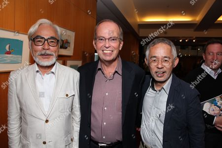 BEVERLY HILLS, CA - JULY 28: Hayao Miyazaki, Disney's Brett Dicker and Toshio Suzuki at the 14th Marc Davis Animation Celebrating Hayao Miyazaki on July 28, 2009 at the Academy of Motion Pictures Arts and Sciences in Beverly Hills, California.