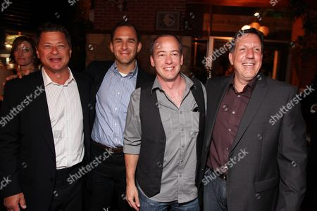 HOLLYWOOD, CA - AUGUST 24: Producer Michael Rotenberg, Exec. Producer Tom Lassally, Exec. Producer Dave Krinsky and Producer John Altschuler at Miramax Films Los Angeles Premiere of 'Extract' Co-Hosted by Three-O Vodka on August 24, 2009 at Arclight Hollywood in Hollywood, California.