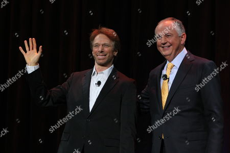 ANAHEIM, CA - SEPTEMBER 11: **EXCLUSIVE** Producer Jerry Bruckheimer and Disney's Dick Cook at Walt Disney Pictures Presentation at Disney's D23 Expo on September 11, 2009 at the Anaheim Convention Center in Anaheim, California.