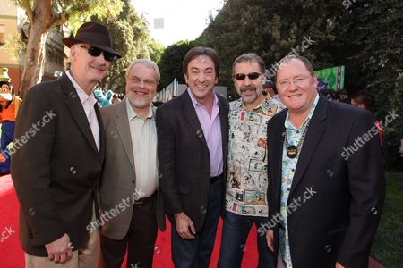 BURBANK, CA - NOVEMBER 15: Director John Musker, Director Ron Clements, Producer Peter Del Vecho, Disney/Pixar's Ed Catmull and Disney/Pixar's John Lasseter at the World Premiere of Disney's 'The Princess and The Frog' hosted by Walt Disney Studios on November 15, 2009 at Walt Disney Studios in Burbank, California.