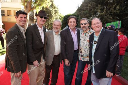 BURBANK, CA - NOVEMBER 15: Disney's Rich Ross, Director John Musker, Director Ron Clements, Producer Peter Del Vecho, Disney/Pixar's Ed Catmull and Disney/Pixar's John Lasseter at the World Premiere of Disney's 'The Princess and The Frog' hosted by Walt Disney Studios on November 15, 2009 at Walt Disney Studios in Burbank, California.