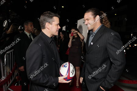 BEVERLY HILLS, CA - DECEMBER 03: Matt Damon and Rugby Player Todd Clever at Warner Bros. Pictures Los Angeles Premiere of 'Invictus' on December 03, 2009 at the Academy of Motion Picture Arts & Sciences in Beverly Hills, California.