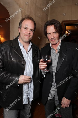 HANCOCK PARK, CA - DECEMBER 08: **EXCLUSIVE** Tom Kapinos and Rick Springfield at Showtime's 4th Annual Holiday Soiree on December 08, 2009 at The Quincy Estate in Hancock Park, California.