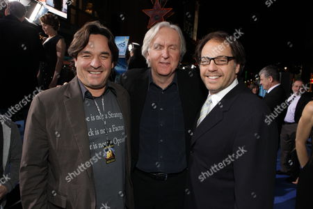 Stock Image of HOLLYWOOD, CA - DECEMBER 16: Fox' Tony Sella, Director James Cameron and Fox' Jeffrey Godsick at 20th Century Fox Los Angeles Premiere of 'Avatar' on December 16, 2009 at Mann's Chinese Theatre in Hollywood, California.