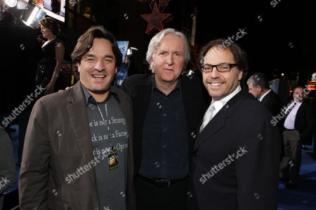 HOLLYWOOD, CA - DECEMBER 16: Fox' Tony Sella, Director James Cameron and Fox' Jeffrey Godsick at 20th Century Fox Los Angeles Premiere of 'Avatar' on December 16, 2009 at Mann's Chinese Theatre in Hollywood, California.