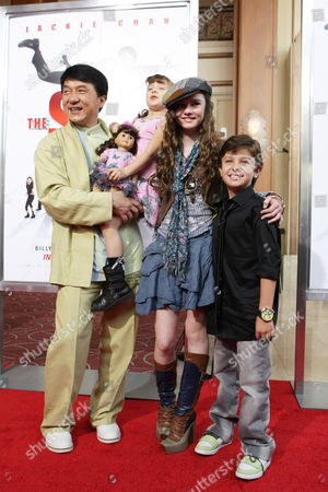 Stock Picture of LOS ANGELES, CA - JANUARY 09: Jackie Chan, Alina Foley, Madeline Carroll and Will Shadley at the World Premiere of Lionsgate 'The Spy Next Door' on January 09, 2010 at The Gorve in Los Angeles, California.