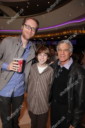 LOS ANGELES, CA - JANUARY 16: **EXCLUSIVE** Stephen Merchant, Chase Ellison and Director Michael Lembeck as Tooth Fairy's Dwayne Johnson becomes an honorary L.A. Kings at the Los Angeles Kings Vs. Bonston Bruins Hockey Game at Staples Center on January 16, 2010 in Los Angeles, California.
