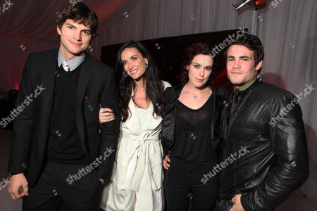 HOLLYWOOD, CA - FEBRUARY 08: Ashton Kucher, Demi Moore, Rumer Willis and Micah Alberti at Warner Bros. Pictures World Premiere of 'Valentine's Day' on February 08, 2010 at Grauman's Chinese Theatre in Hollywood, California.