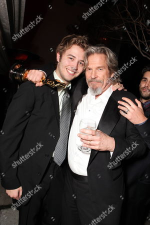Stock Image of HOLLYWOOD, CA - MARCH 07: **EXCLUSIVE** Dylan Bridges and Jeff Bridges at 20th Century Fox - Fox Searchlight Pictures Oscar Party on March 07, 2010 at Boulevard 3 in Hollywood, California.