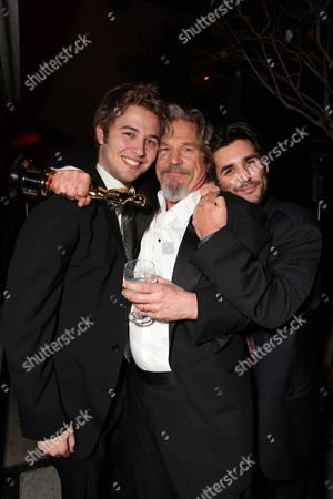 Stock Photo of HOLLYWOOD, CA - MARCH 07: **EXCLUSIVE** Dylan Bridges, Jeff Bridges and Nephew Jordan Bridges at 20th Century Fox - Fox Searchlight Pictures Oscar Party on March 07, 2010 at Boulevard 3 in Hollywood, California.