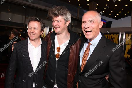 Stock Photo of HOLLYWOOD, CA - APRIL 13: Producer Adam Bohling, Producer Tarquin Pack and Lionsgate's Joe Drake at Lionsgate's Los Angeles Premiere of 'Kick Ass' on April 13, 2010 at Arclight Cinerama Dome in Hollywood, California.