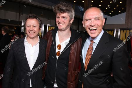 Stock Picture of HOLLYWOOD, CA - APRIL 13: Producer Adam Bohling, Producer Tarquin Pack and Lionsgate's Joe Drake at Lionsgate's Los Angeles Premiere of 'Kick Ass' on April 13, 2010 at Arclight Cinerama Dome in Hollywood, California.