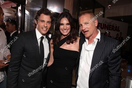 HOLLYWOOD, CA - APRIL 12: James Marsden, Lisa Linde and Screen Gem's Clint Culpepper at Screen Gem's World Premiere of 'Death at a Funeral' on April 12, 2010 at Arclight Cinerama Dome in Hollywood, California.