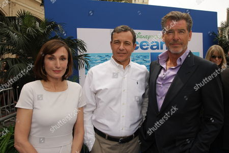 Stock Image of HOLLYWOOD, CA - APRIL 17: General Consul of Monaco Maguy Maccario-Doyle, Disney's Bob Iger and Pierce Brosnan at Disneynature's premiere of 'Oceans' on April 17, 2010 at the El Capitan Theatre in Hollywood, California.