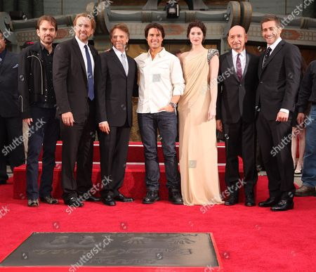 HOLLYWOOD, CA - MAY 17: Billy Bob Thornton, Nicolas Cage, Producer Jerry Bruckheimer,Tom Cruise, Gemma Arterton, Sir Ben Kingsley and Jake Gyllenhaal at the Cinematic Celebration of Jerry Bruckheimer sponsored by Sprint and AFI on May 17, 2010 at Grauman's Chinese Theatre in Hollywood, California.