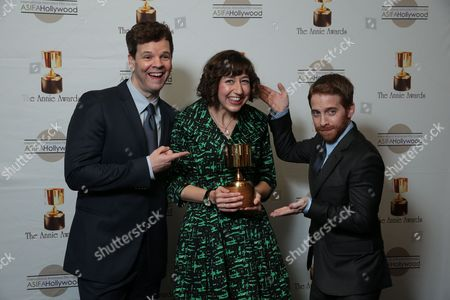 Kevin Shinick, Kristen Schaal and Seth Green at the 40th Annual Annie Awards held at UCLA Royce Hall on February 2, 2013 in Los Angeles, California.